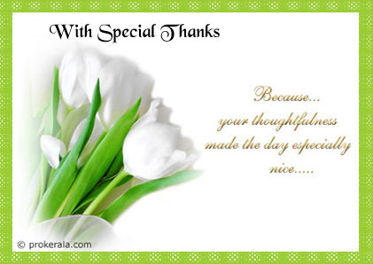 Wish Special Thanks Prokerala Greeting Cards