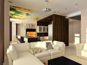 дизайн и интерьер кухни совмещенной с гостиной в современном стиле 7