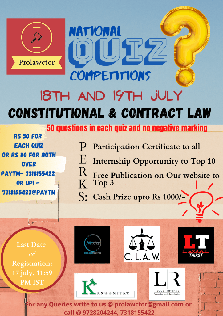 Prolawctor: National Quiz Competition On Contracts Act And Constitutional Law Results - Prolawctor