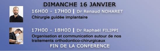 programme du dimanche 16 janvier 2022 de la conférence dentaire à la clusaz