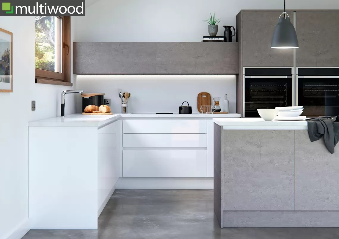 Multiwood Cosdon – Gloss White and Concrete Kitchen