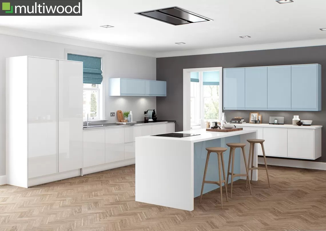 Multiwood Welford Bright White & Sky Blue Kitchen
