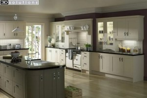 Trademouldings Gresham Ivory and Olive Island Kitchen