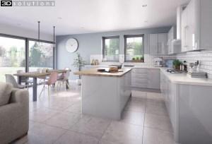 Trademouldings Lumi Dove Grey Gloss Kitchen