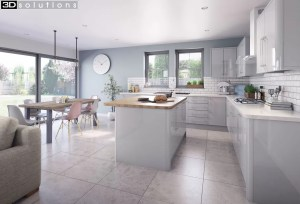 Trademouldings Lumi Dove Grey Gloss Kitchen