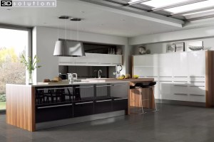 Trademouldings Odyssey Black and White Gloss Kitchen