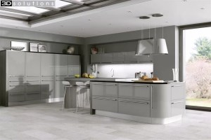 Trademouldings Odyssey Stone Grey Gloss Kitchen