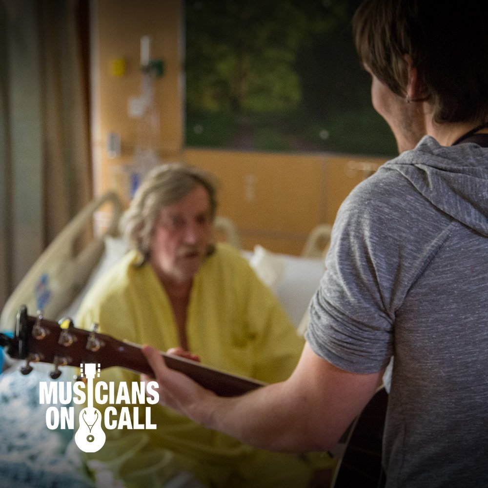 Musician on call playing to Adult patient