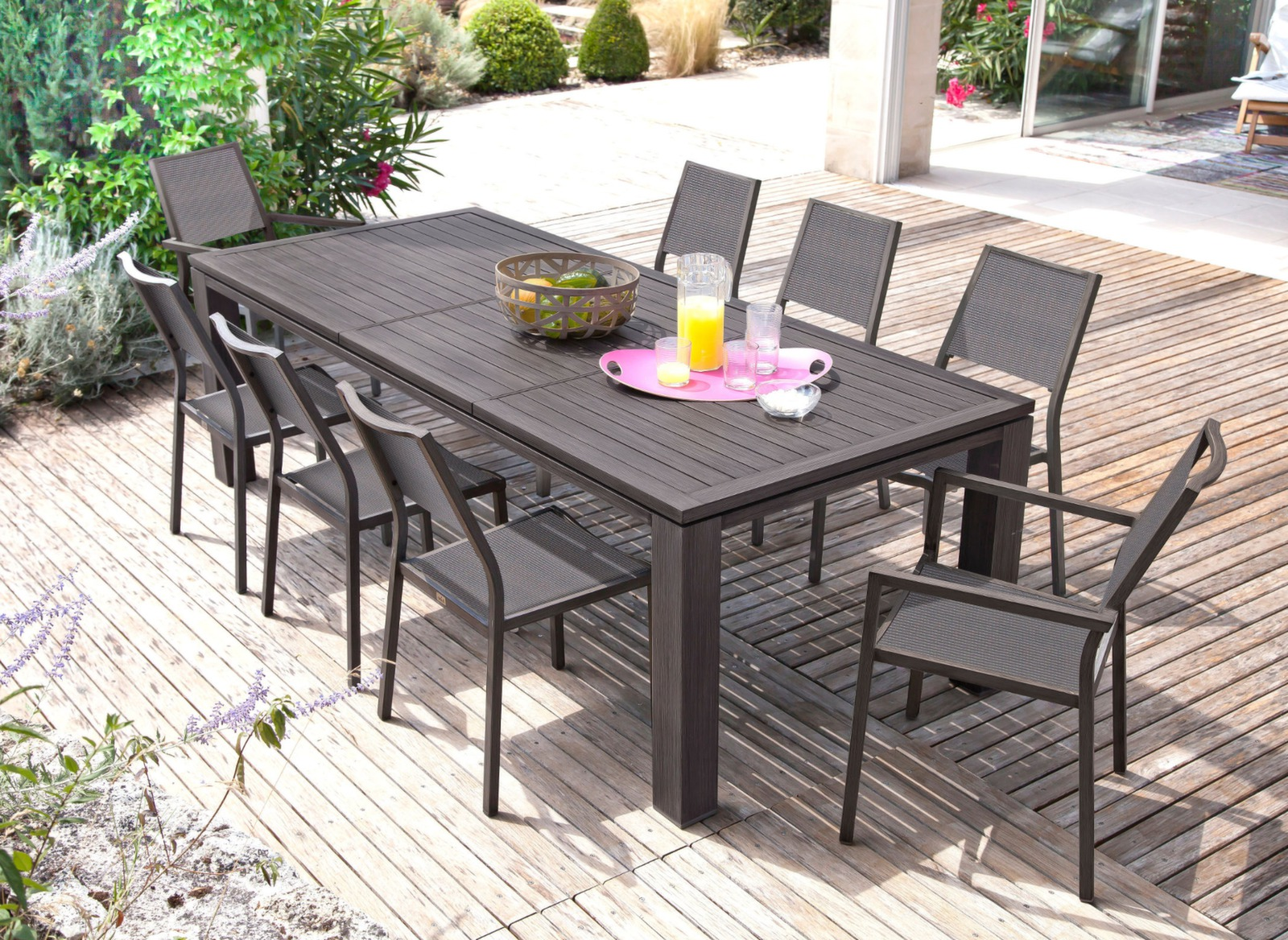 Grande table de jardin rectangle Fiero   Mobilier jardin   Proloisirs Table Fiero 200 300cm