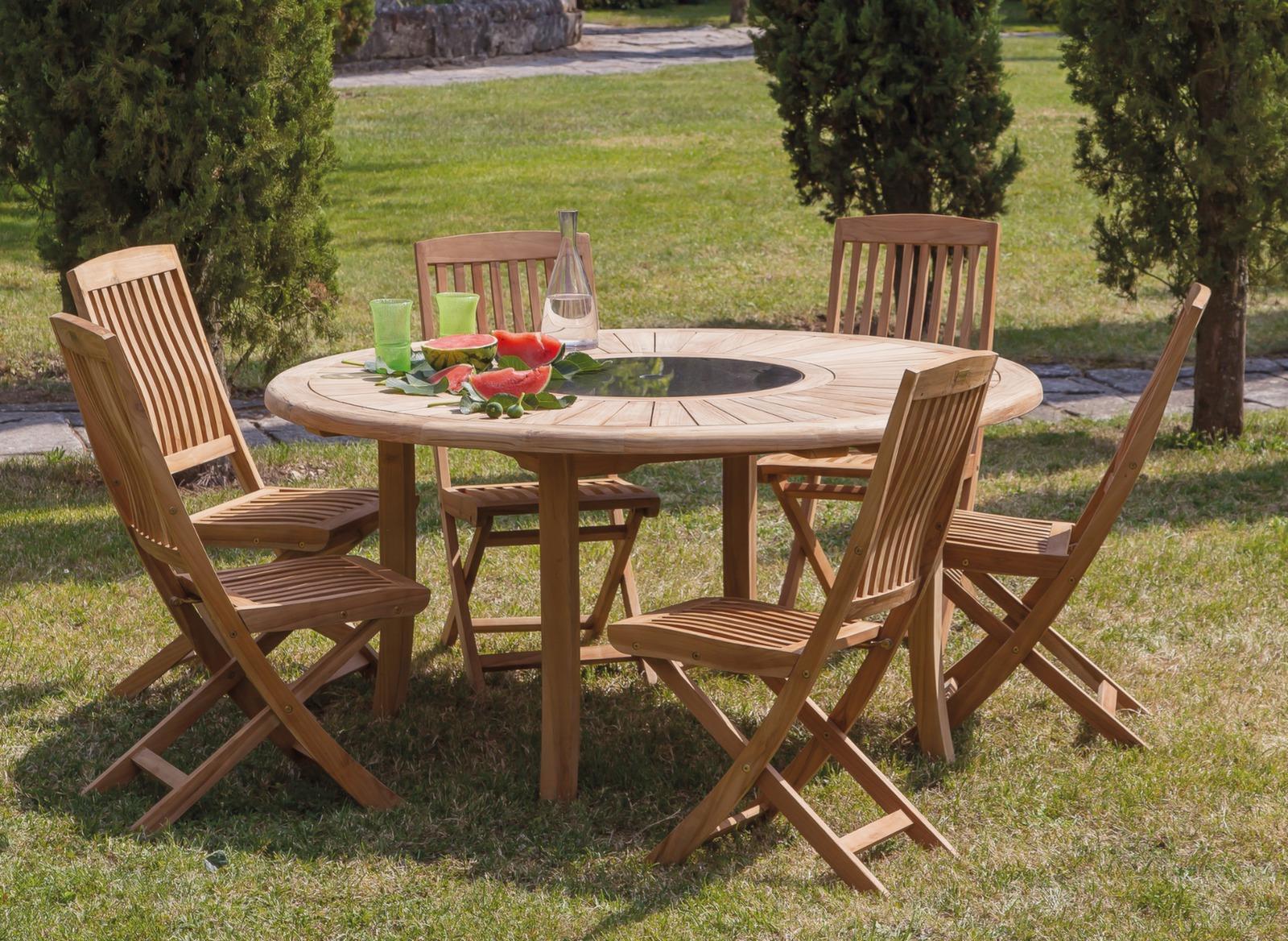 table brehat o 155 cm 6 chaises pliantes