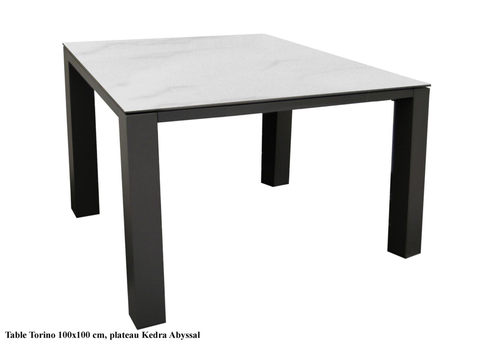 table torino 100x100 cm plateau kedra