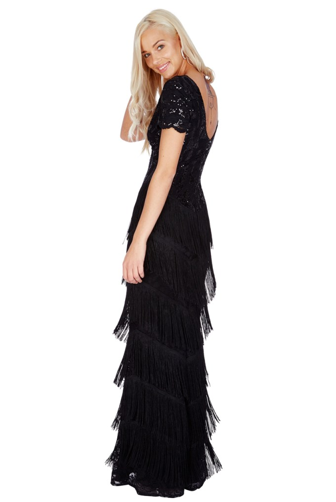 Black Sequin Vintage 1920s Maxi Fringe Dress | Downton ...