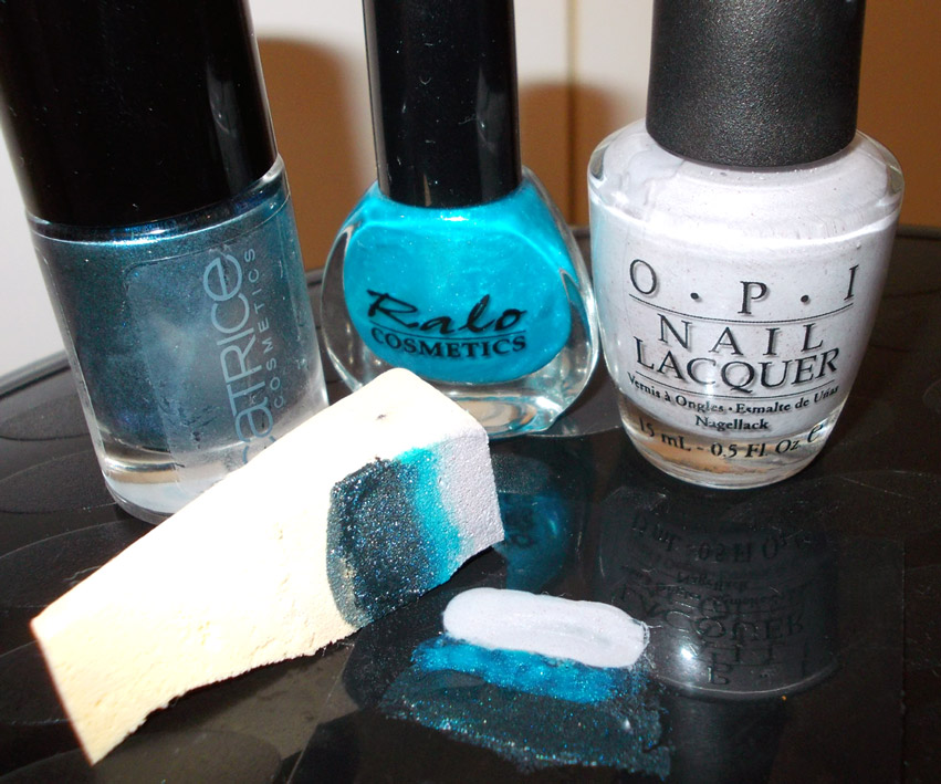 Blue Gradient Nail Art step two