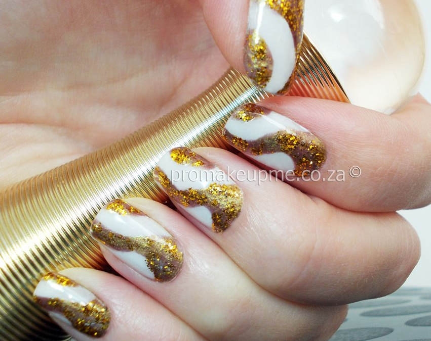 White and Gold Dior Tribute Nail Art