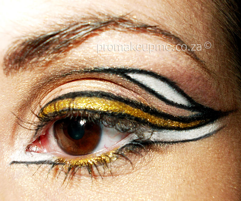 White and Gold Winged Eye Liner Makeup