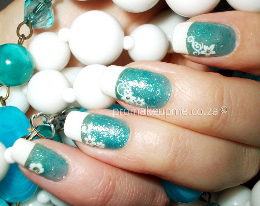 Turquoise French Mani Nail Art