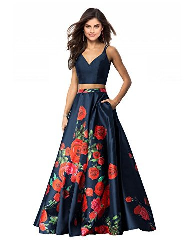 e99e3c03a91 Lily Wedding Womens 2 Piece Floral Printed Prom Dresses 2019 Long Formal  Evening Ball Gowns with Pockets GD32
