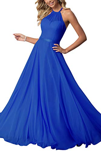 Halter Bridesmaid Dresses Chiffon Pleated Backless Formal Evening Gowns for Women Long 2019