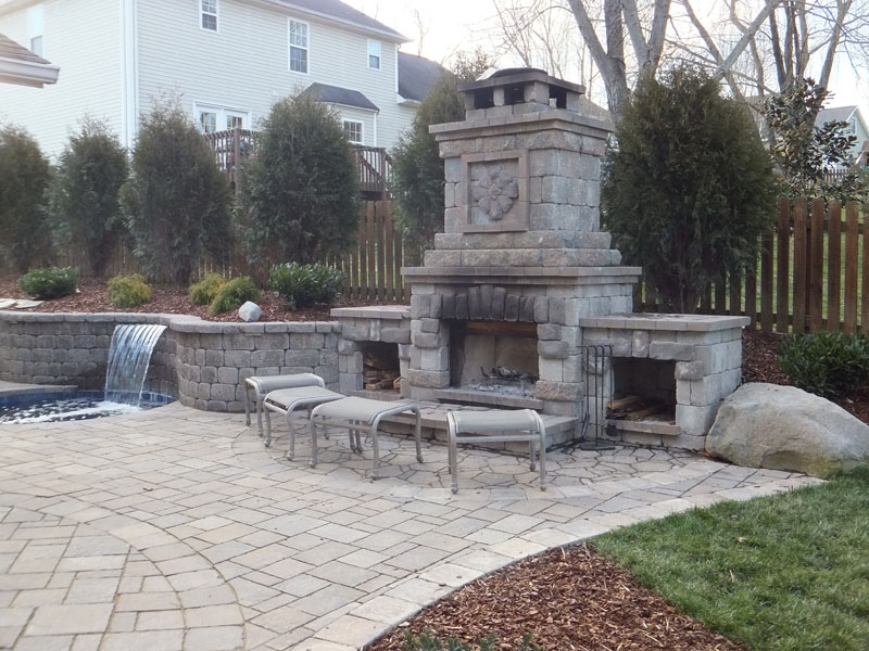 Outdoor Stone Fireplace Photo