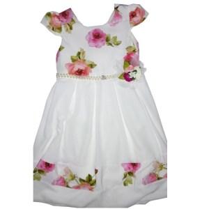 Robe fleurette blanche pour enfant avec ceinture à perle