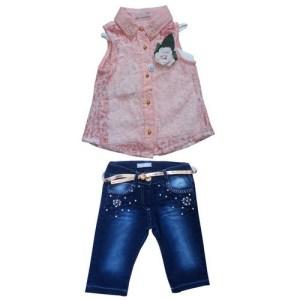 Ensemble haut rose avec jean pour petite fille
