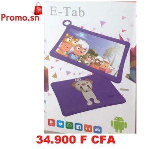 Tablette enfant E-tab Mémoire 8 Go avec pochette
