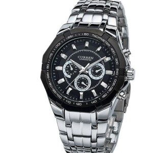 Montres Curren Stainless Steel Chronograph Promo Noir