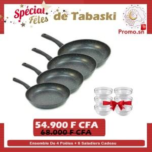 Ensemble de 4 poêles en pierre marque italienne + 6 saladiers cadeau