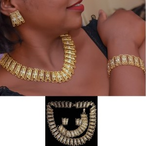 Parures plaqué Or (4) hypoallergéniques collier, bracelet, deux boucles oreilles bague
