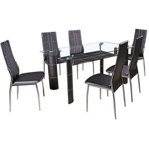 Table à manger en verre avec 6 chaises
