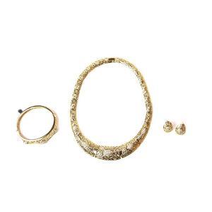 Parure plaqué Or collier deux boucles oreilles, bracelet Sophia