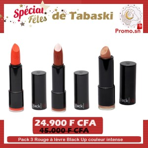 Pack 3 Rouge à lèvre Black Up couleur intense