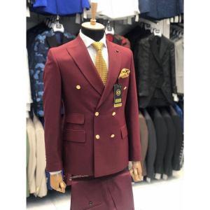 Ensemble costume croisé homme 6 boutons rouge