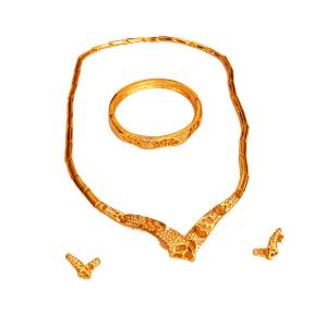 Parure plaqué Or collier deux boucles oreilles, bracelet So1