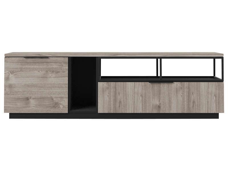 snapp coloris noir immitation bois gris meuble tv promo conforama