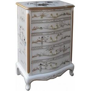 chiffonnier blanc laque chinoise 5 tiroirs meubles chinois laques