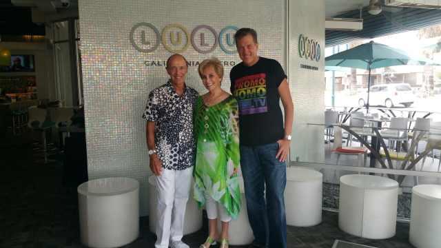 Lulu's Jerry and Barbara Keller strike a pose with PromoHomo.TV's Nicholas Snow.