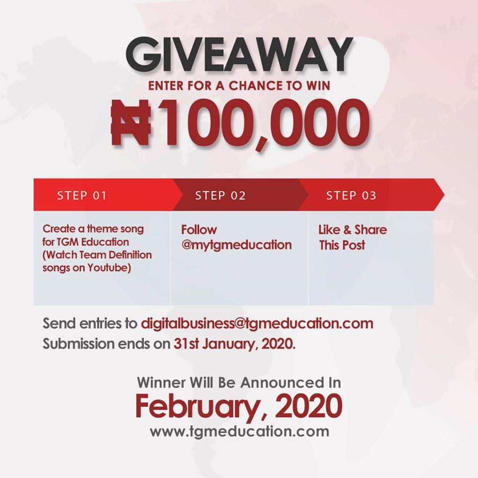 TGM Education N100K Giveaway Alert !!!