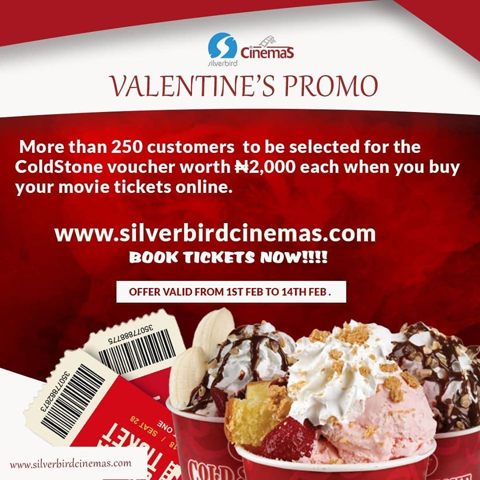 Silverbird Cinemas Valentine Giveaway, Win a Cold Stone Voucher Worth N2,000