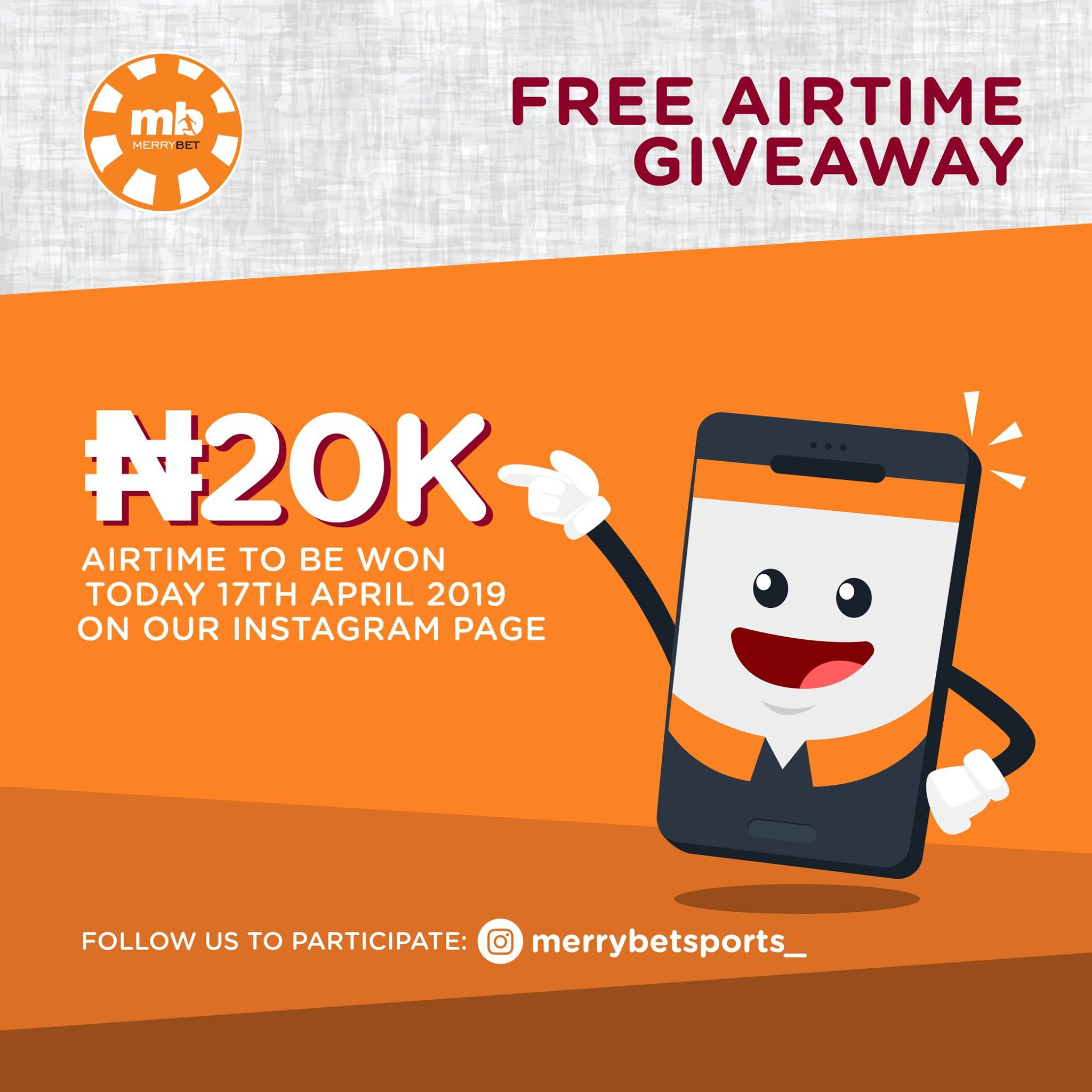 Merrybet Airtime Giveaway Today, on Instagram!!!