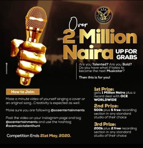 Win Over N2,000,000.00 In  @ocemusictalenthunt By @ocentertainments