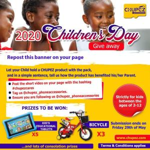 Win Tablets and Bicycles in Chupez Accessories Children's Day Giveaway.