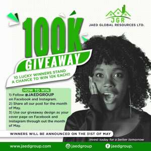10 Lucky People to Win N100,000 In JAED GROUP Giveaway.