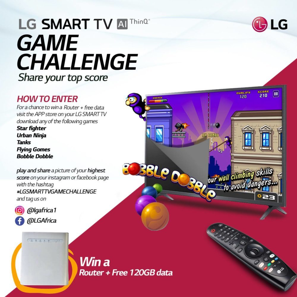 Win a Router and 120GB Data in LG Smart TV Game Challenge