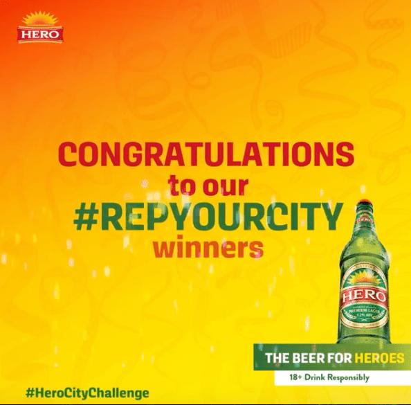 "Winners of Hero Lager ""Rep Your City"" Challenge."