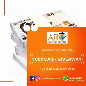 N10K For Grabs Weekly in The ARC Education Services Giveaway.