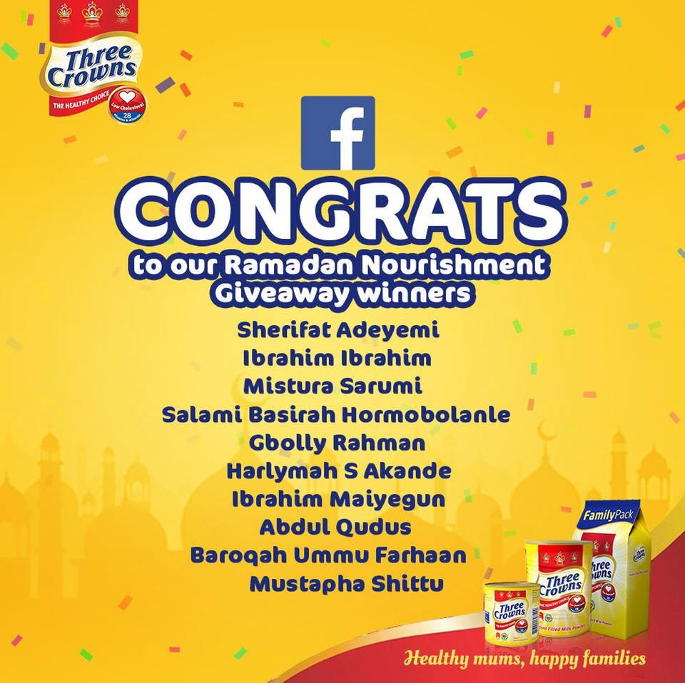 Winners of Three Crowns Milk Ramadan Giveaway !!!