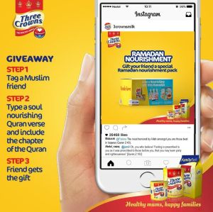 30 Lucky People To Win in Three Crowns Milk Ramadan Giveaway.
