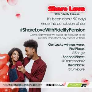Winners of Fidelity Pension #ShareLoveWithFidelityPension Campaign
