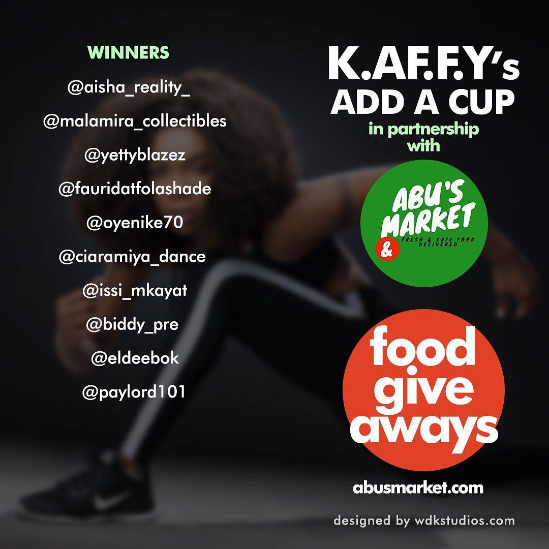Winners of Kaffy Foundation Food Giveaway